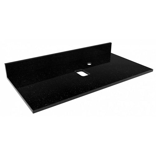 36-inch W 18.5-inch D Stone Top in Black Galaxy Color for Deck Mount Faucet Right( Xena Quartz )