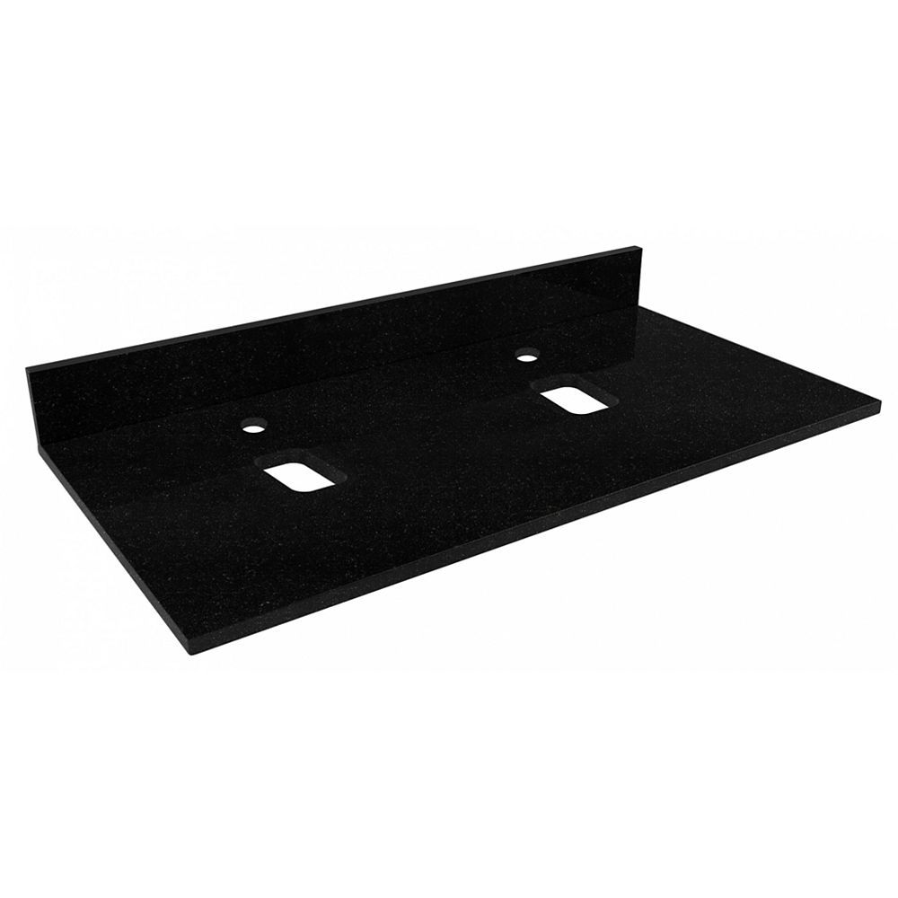 American Imaginations 48-inch W 18.5-inch D Stone Top in Black Color for Deck Mount 2 Central Faucet Holes ( Xena Quartz )