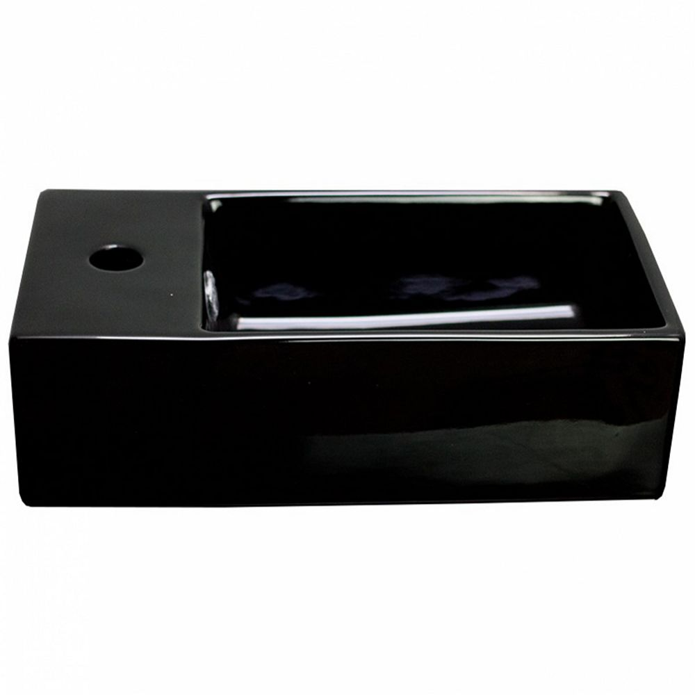 American Imaginations Above Counter 19-inch W Rectangular Vessel Sink in Black