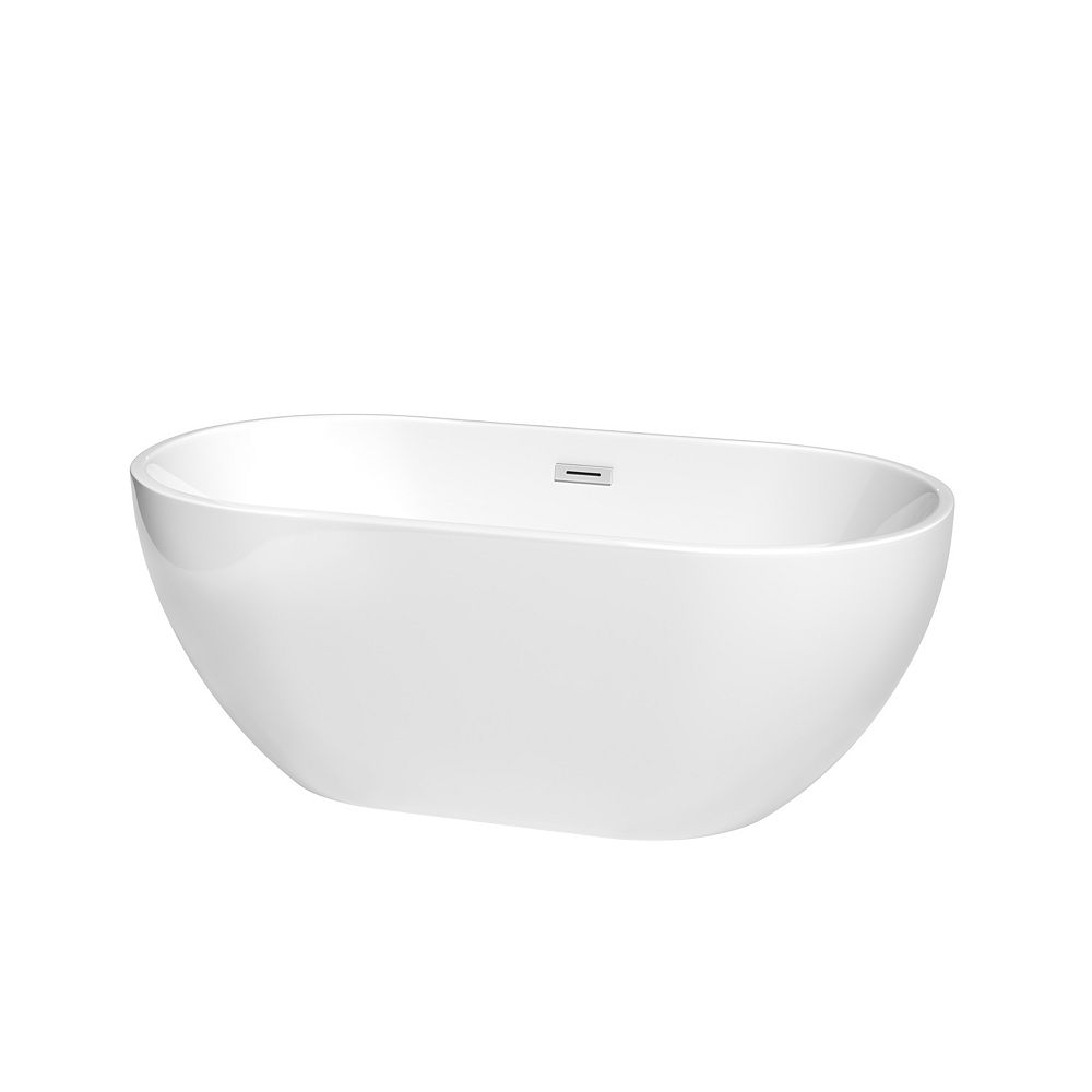 Wyndham Collection Brooklyn 60 inch Freestanding Bathtub in White with Polished Chrome Drain and Overflow Trim