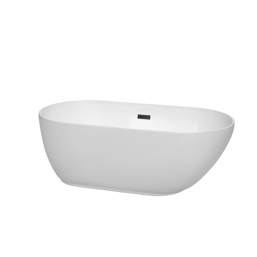 Wyndham Collection Melissa 60 inch Freestanding Bathtub in White with Matte Black Drain and Overflow Trim