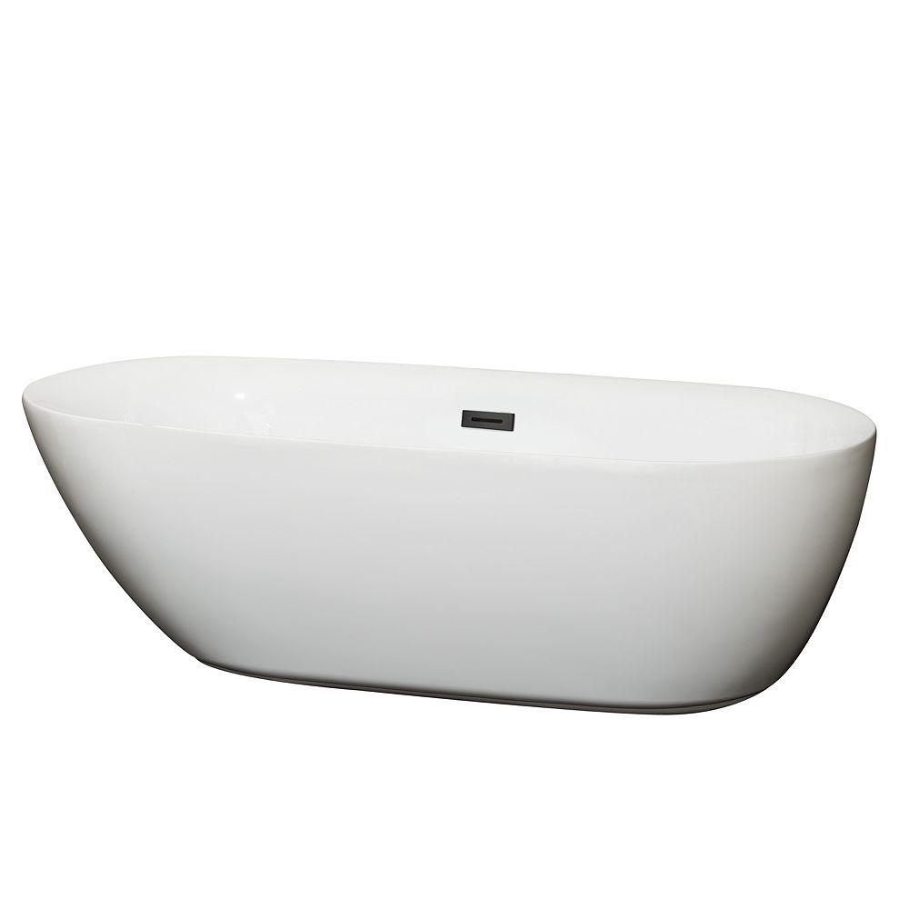 Wyndham Collection Melissa 71 inch Freestanding Bathtub in White with Matte Black Drain and Overflow Trim