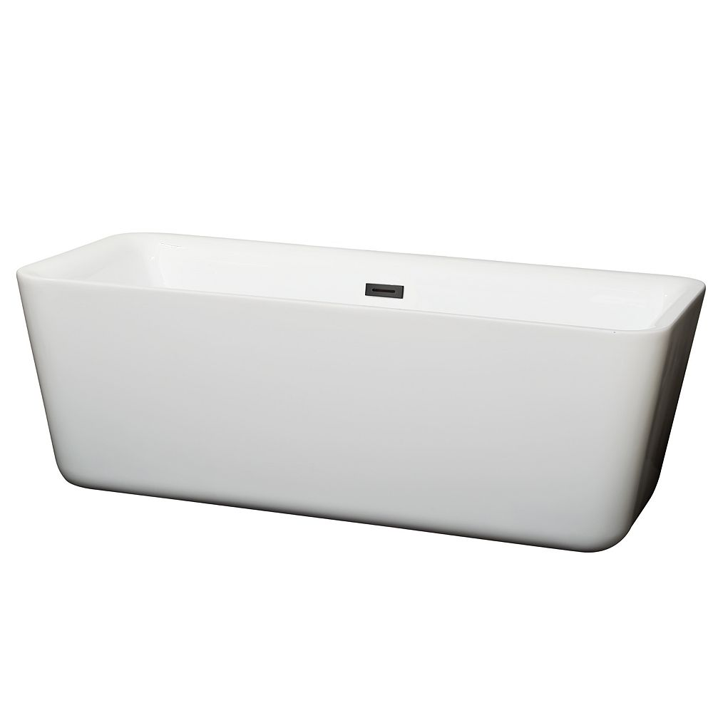 Wyndham Collection Emily 69 inch Freestanding Bathtub in White with Matte Black Drain and Overflow Trim