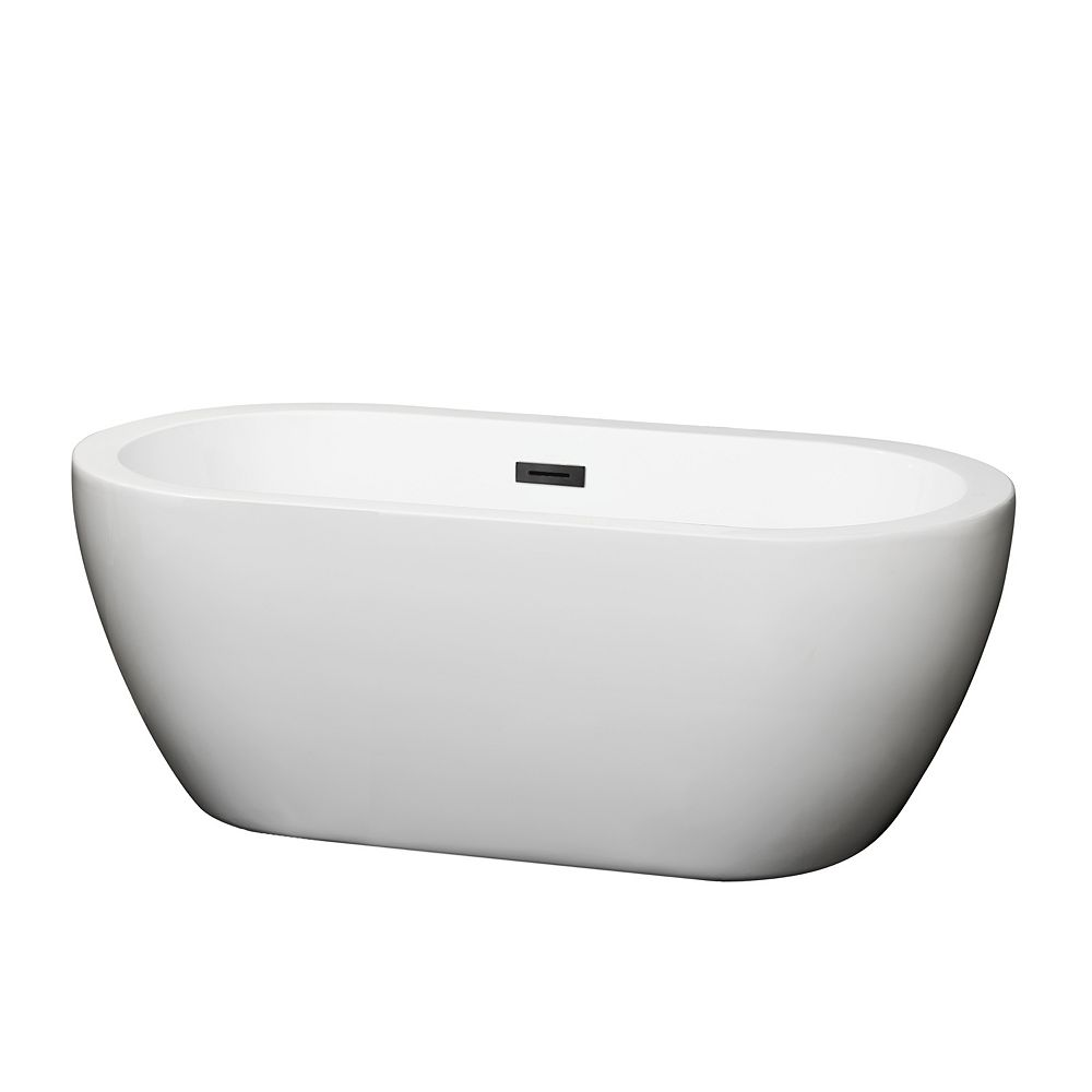 Wyndham Collection Soho 60 inch Freestanding Bathtub in White with Matte Black Drain and Overflow Trim