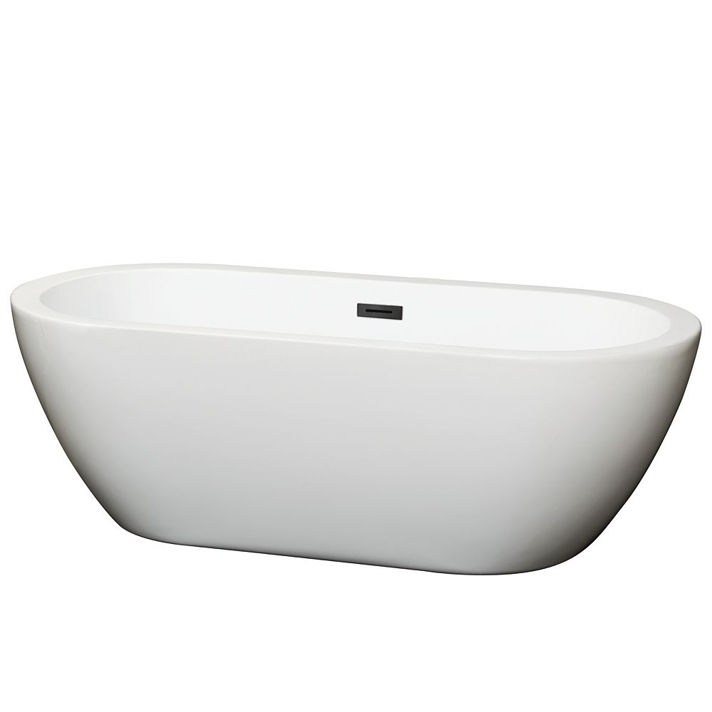 Wyndham Collection Soho 68 inch Freestanding Bathtub in White with Matte Black Drain and Overflow Trim
