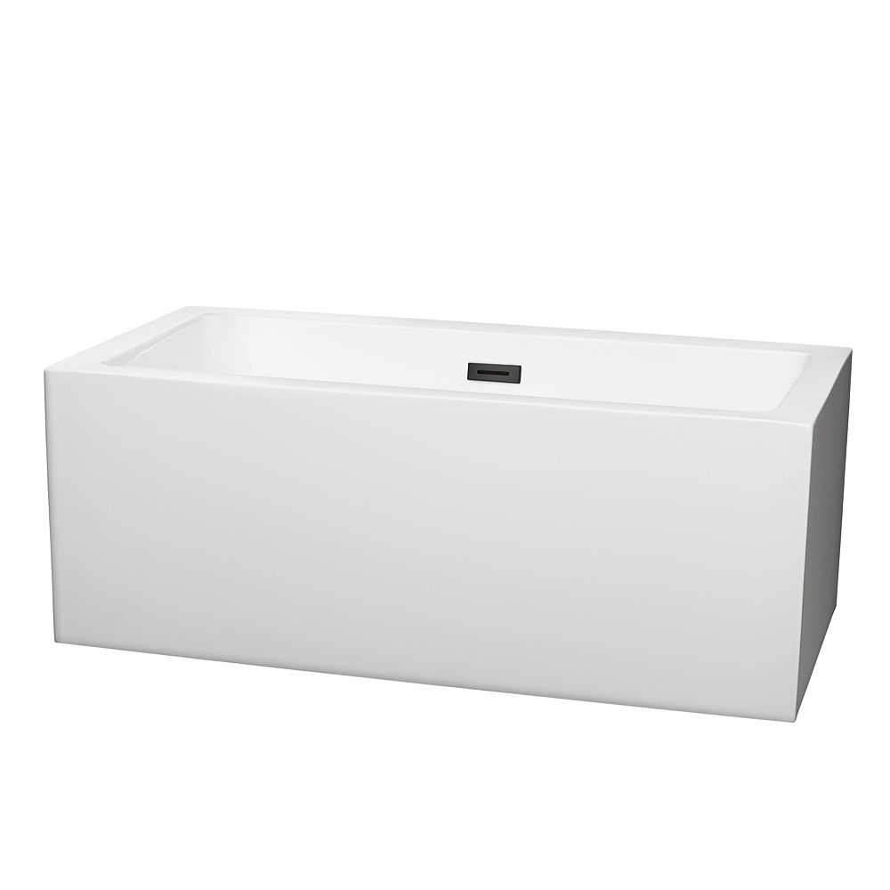 Wyndham Collection Melody 60 inch Freestanding Bathtub in White with Matte Black Drain and Overflow Trim