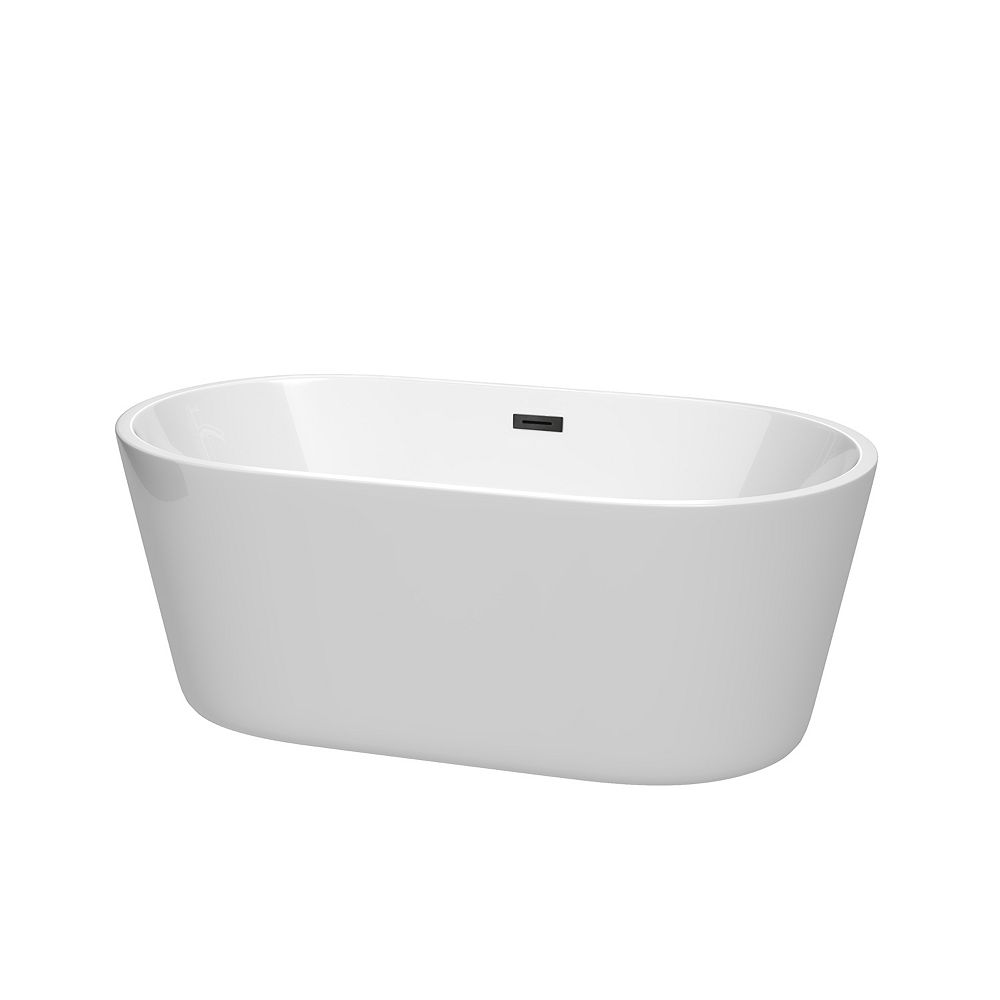 Wyndham Collection Carissa 60 inch Freestanding Bathtub in White with Matte Black Drain and Overflow Trim