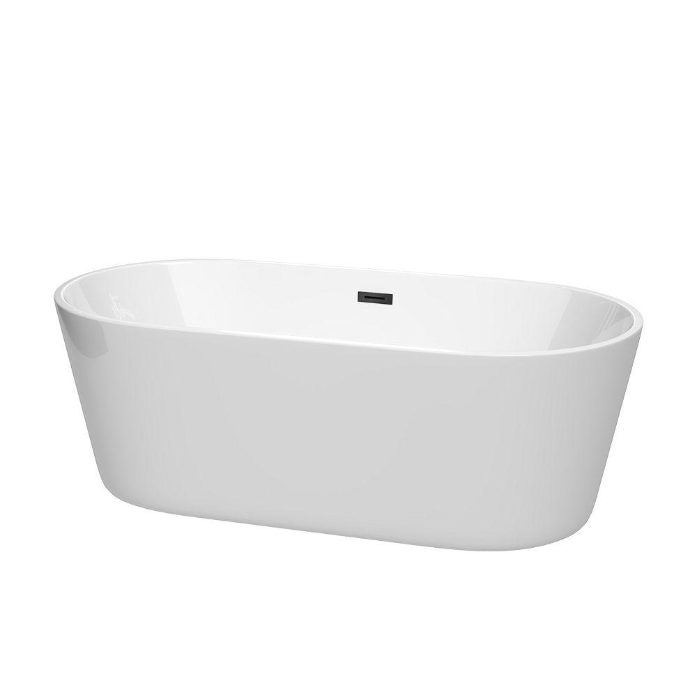 Wyndham Collection Carissa 67 inch Freestanding Bathtub in White with Matte Black Drain and Overflow Trim