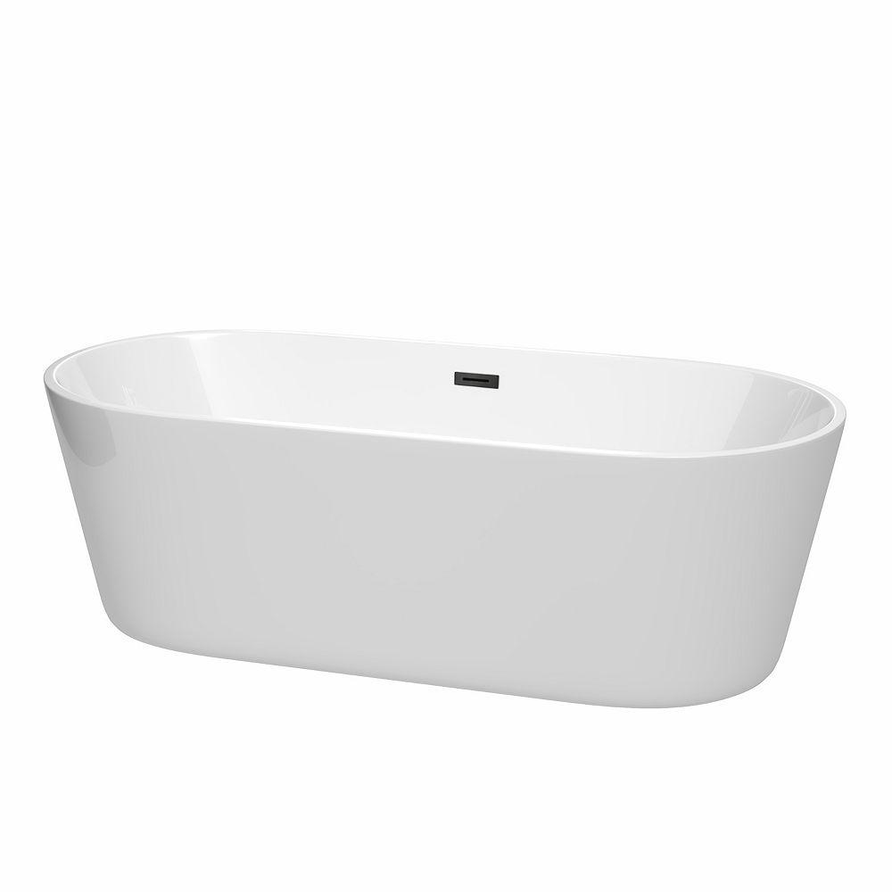 Wyndham Collection Carissa 71 inch Freestanding Bathtub in White with Matte Black Drain and Overflow Trim