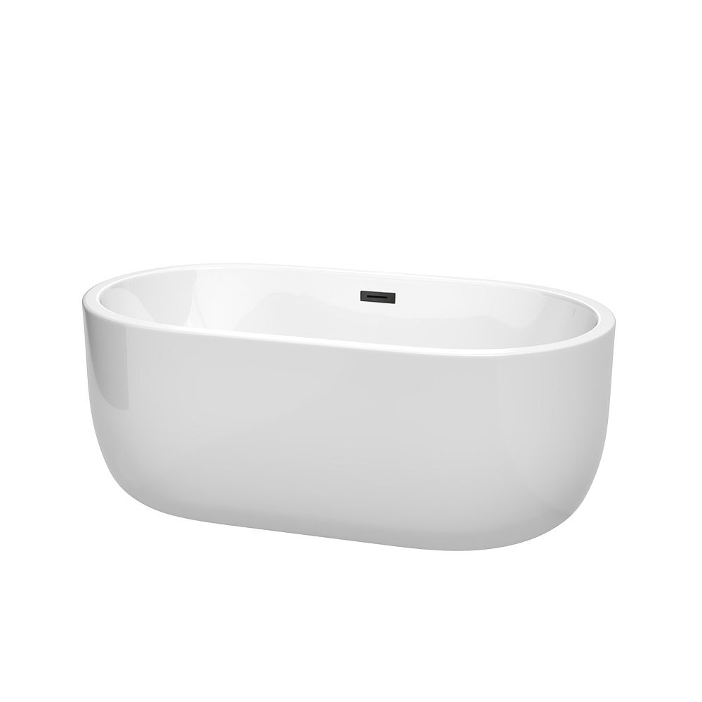 Wyndham Collection Juliette 60 inch Freestanding Bathtub in White with Matte Black Drain and Overflow Trim