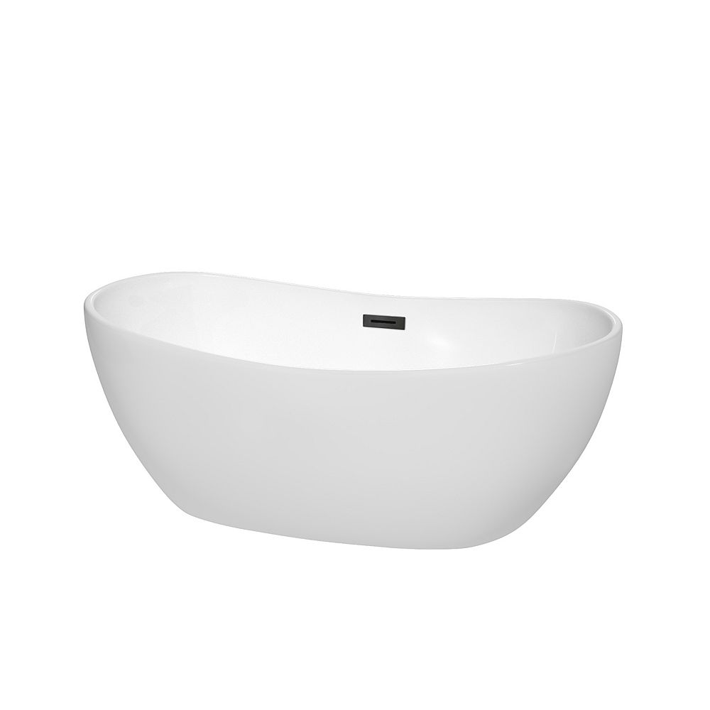Wyndham Collection Rebecca 60 inch Freestanding Bathtub in White with Matte Black Drain and Overflow Trim