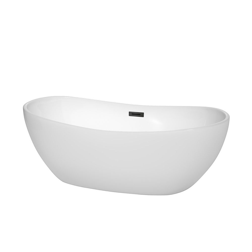 Wyndham Collection Rebecca 65 inch Freestanding Bathtub in White with Matte Black Drain and Overflow Trim