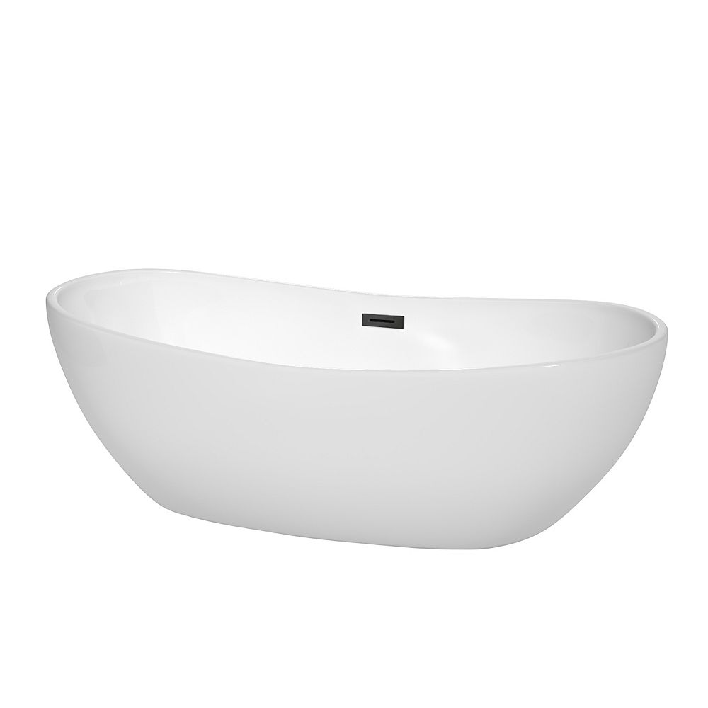 Wyndham Collection Rebecca 70 inch Freestanding Bathtub in White with Matte Black Drain and Overflow Trim