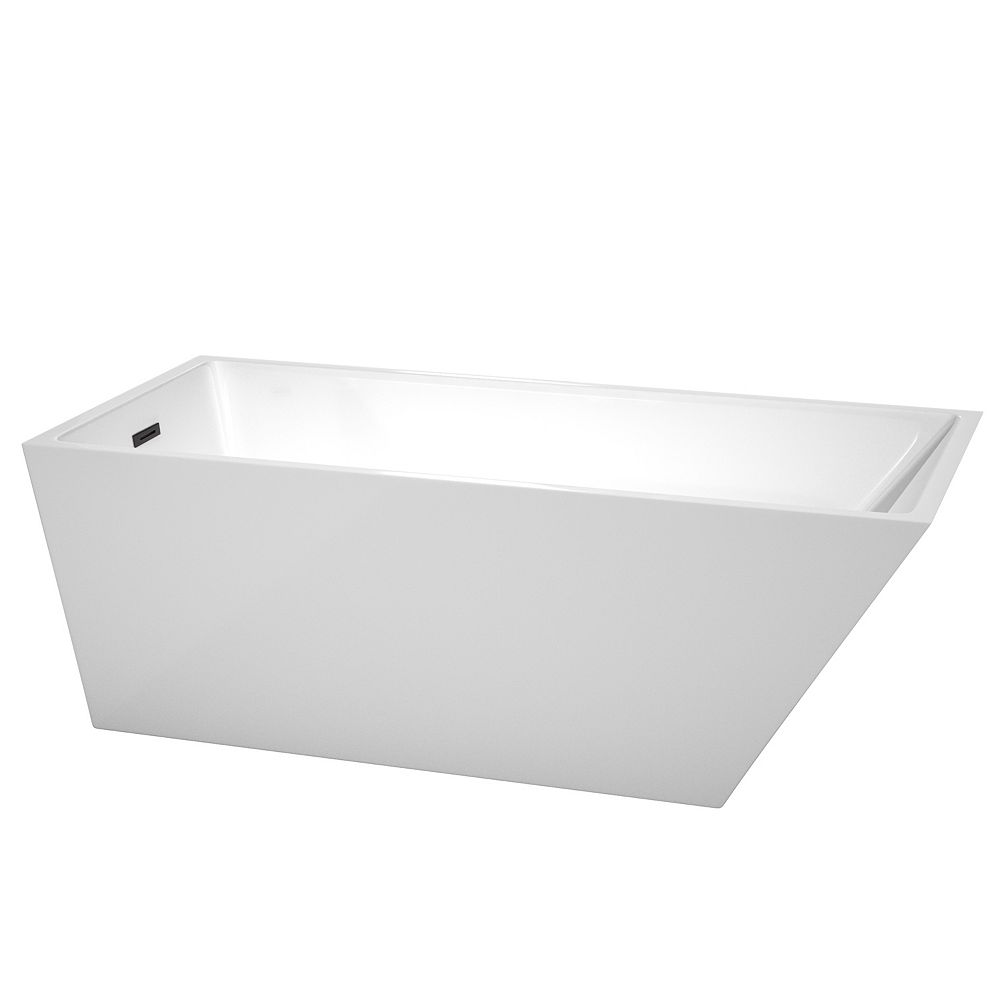 Wyndham Collection Hannah 67 inch Freestanding Bathtub in White with Matte Black Drain and Overflow Trim