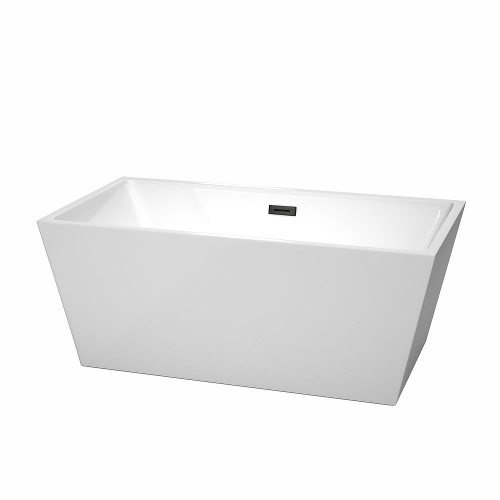 Wyndham Collection Sara 59 inch Freestanding Bathtub in White with Matte Black Drain and Overflow Trim