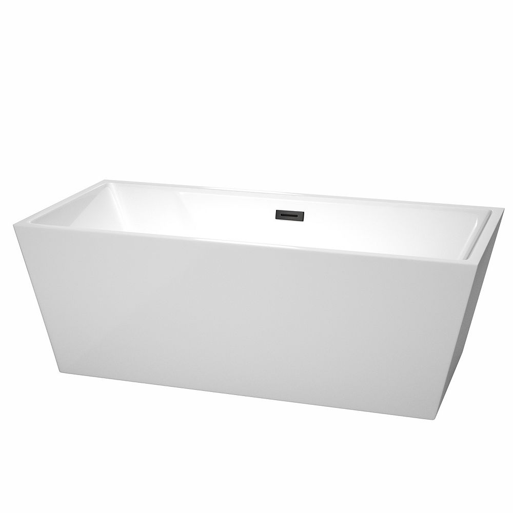 Wyndham Collection Sara 67 inch Freestanding Bathtub in White with Matte Black Drain and Overflow Trim