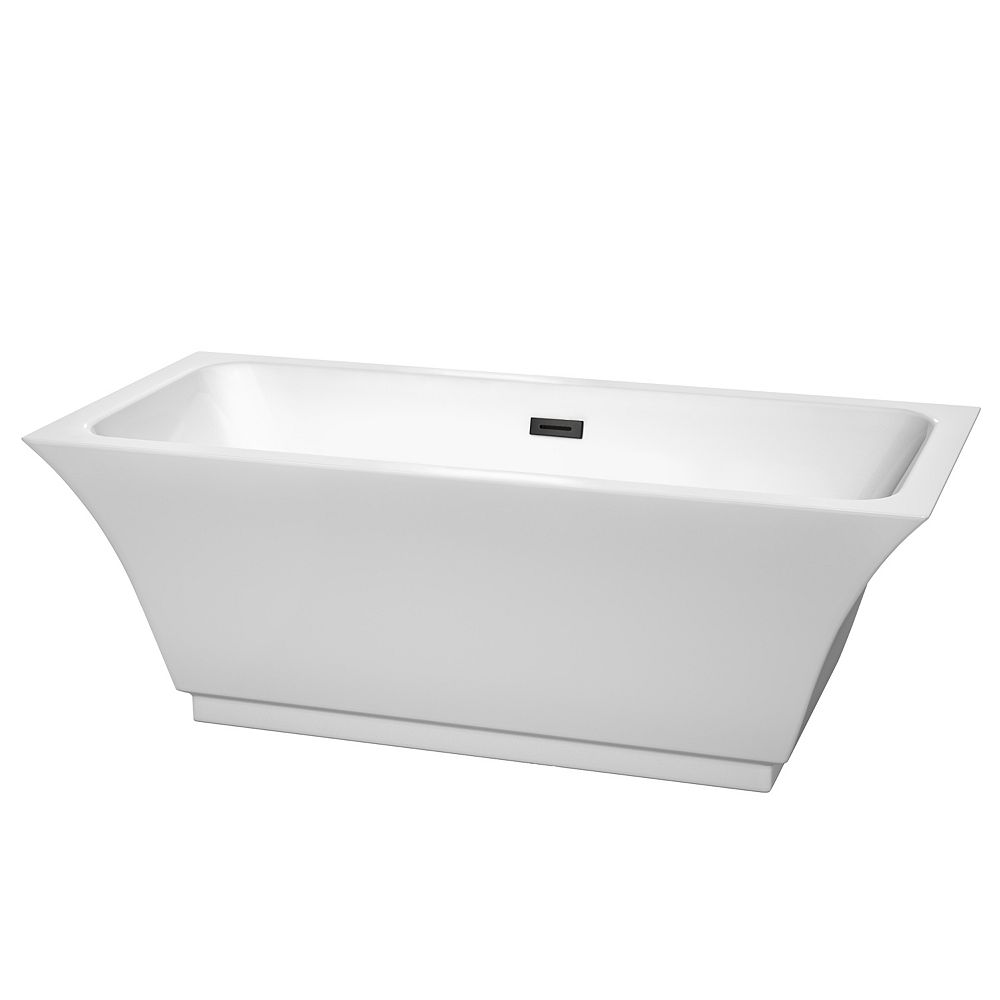 Wyndham Collection Galina 67 inch Freestanding Bathtub in White with Matte Black Drain and Overflow Trim