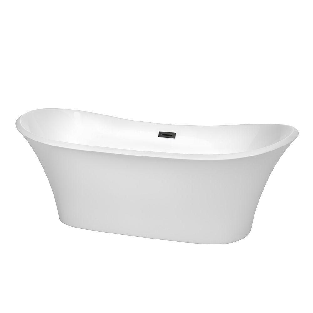 Wyndham Collection Bolera 71 inch Freestanding Bathtub in White with Matte Black Drain and Overflow Trim
