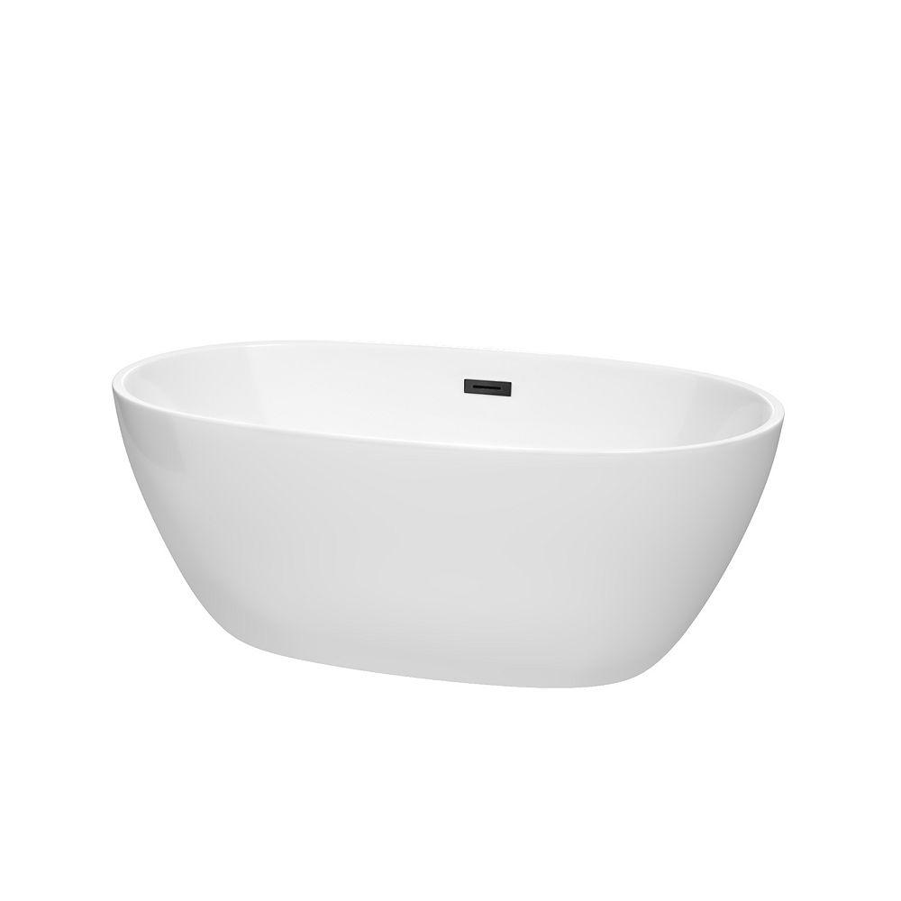 Wyndham Collection Juno 59 inch Freestanding Bathtub in White with Matte Black Drain and Overflow Trim