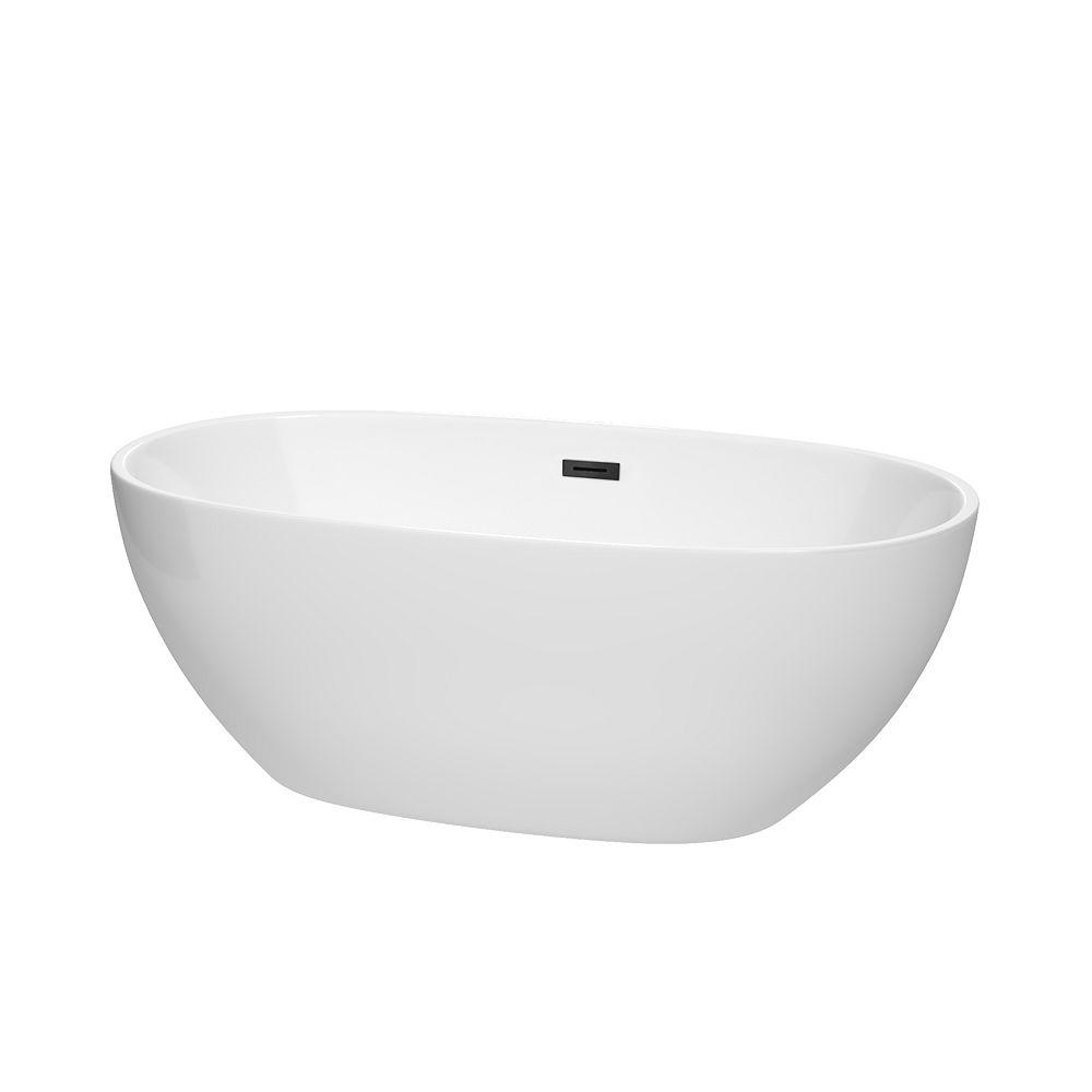 Wyndham Collection Juno 63 inch Freestanding Bathtub in White with Matte Black Drain and Overflow Trim