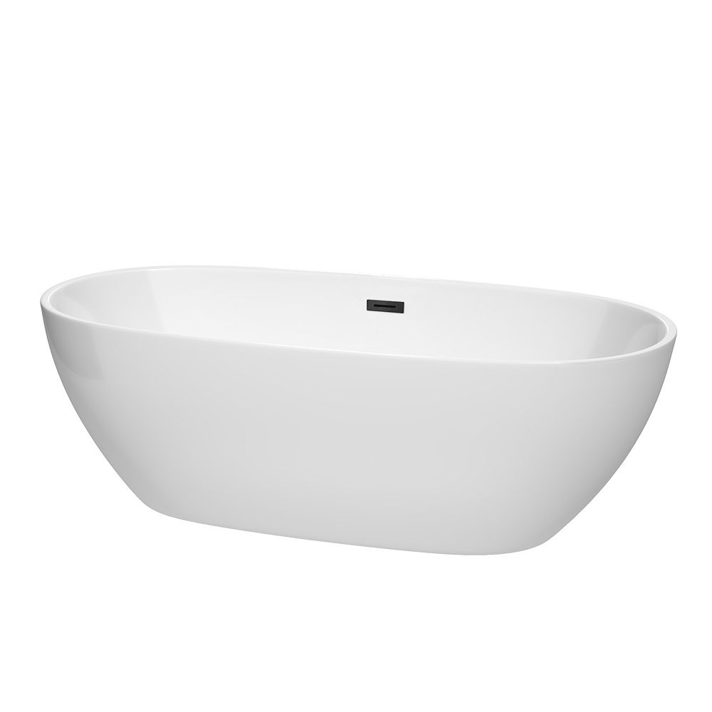 Wyndham Collection Juno 71 inch Freestanding Bathtub in White with Matte Black Drain and Overflow Trim