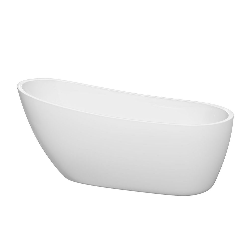 Wyndham Collection Florence 68 inch Freestanding Bathtub in White with Matte Black Drain and Overflow Trim