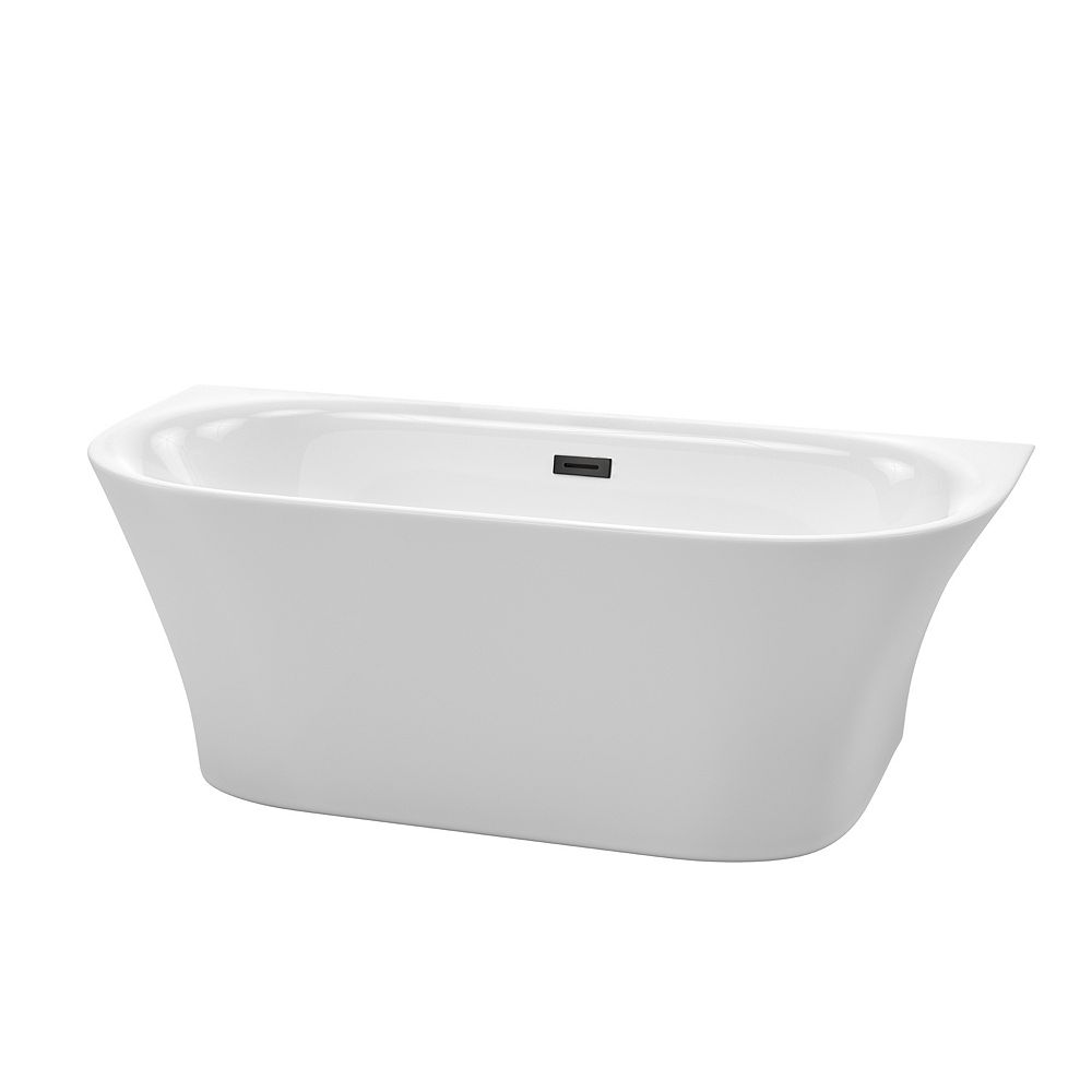 Wyndham Collection Cybill 67 inch Freestanding Bathtub in White with Matte Black Drain and Overflow Trim