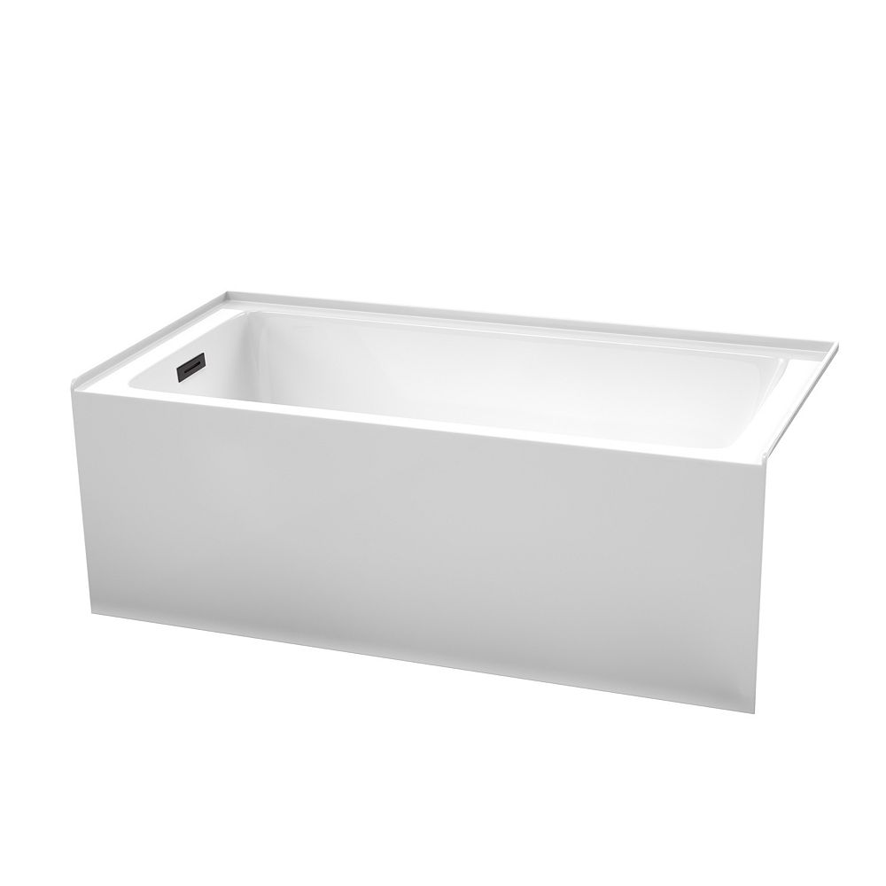 Wyndham Collection Grayley 60x30 inch Alcove Bathtub in White with Left-Hand Drain and Overflow Trim in Matte Black