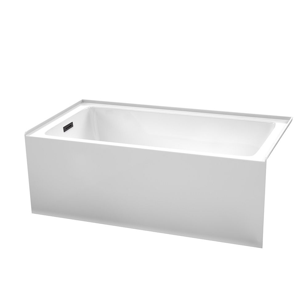 Wyndham Collection Grayley 60x32 inch Alcove Bathtub in White with Left-Hand Drain and Overflow Trim in Matte Black