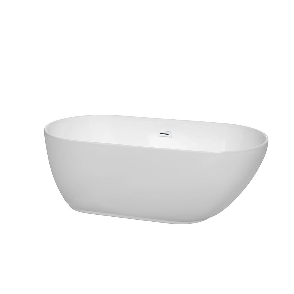 Wyndham Collection Melissa 60 inch Freestanding Bathtub in White with Shiny White Drain and Overflow Trim