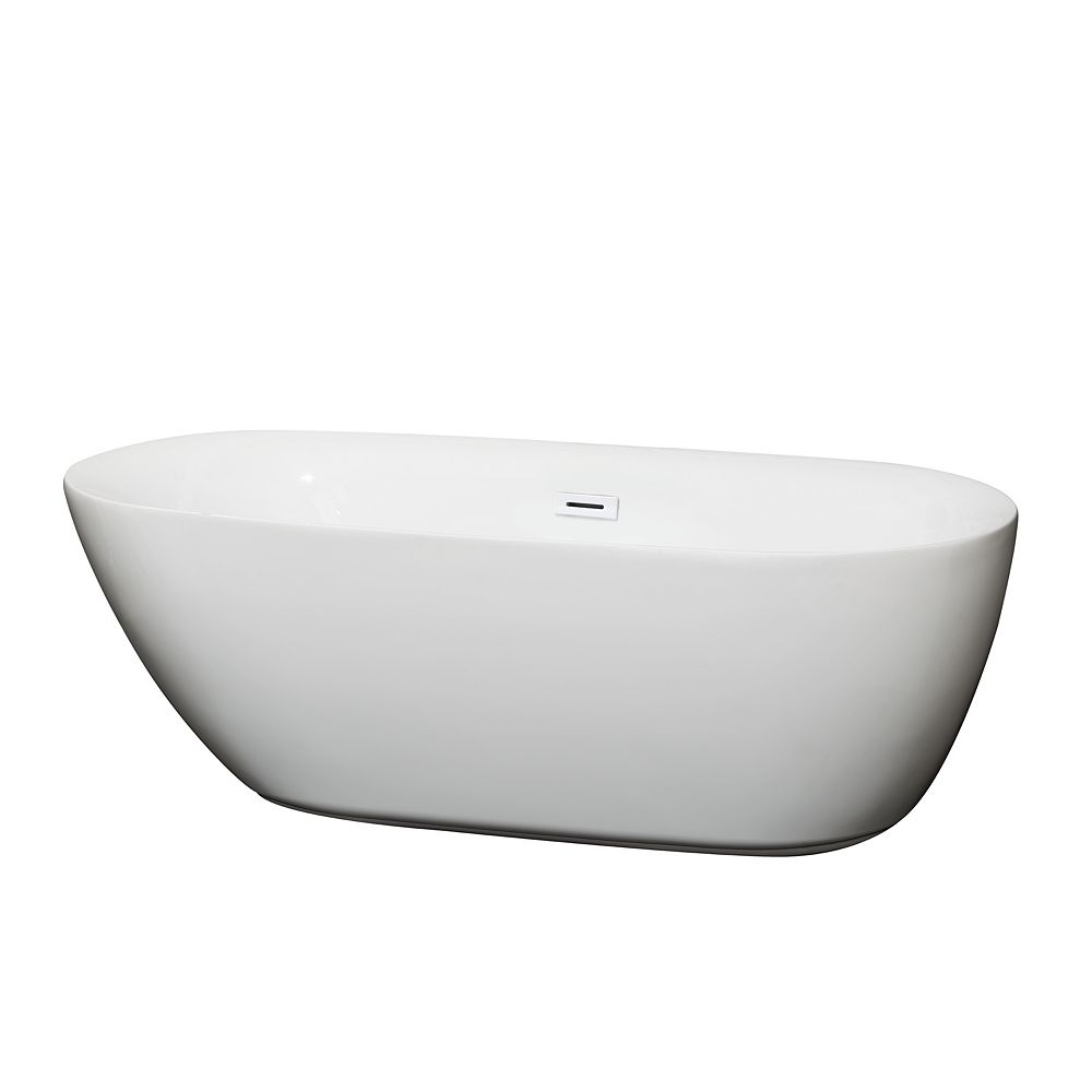 Wyndham Collection Melissa 65 inch Freestanding Bathtub in White with Shiny White Drain and Overflow Trim