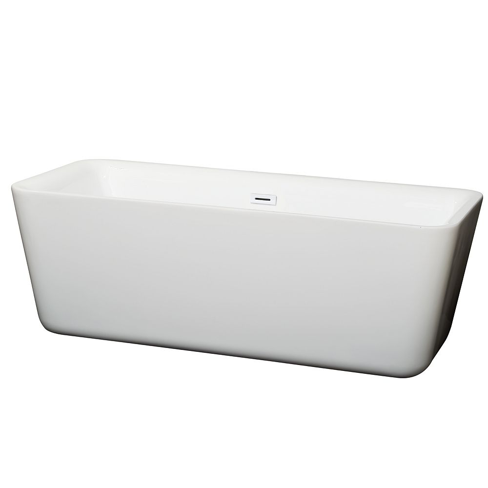 Wyndham Collection Emily 69 inch Freestanding Bathtub in White with Shiny White Drain and Overflow Trim