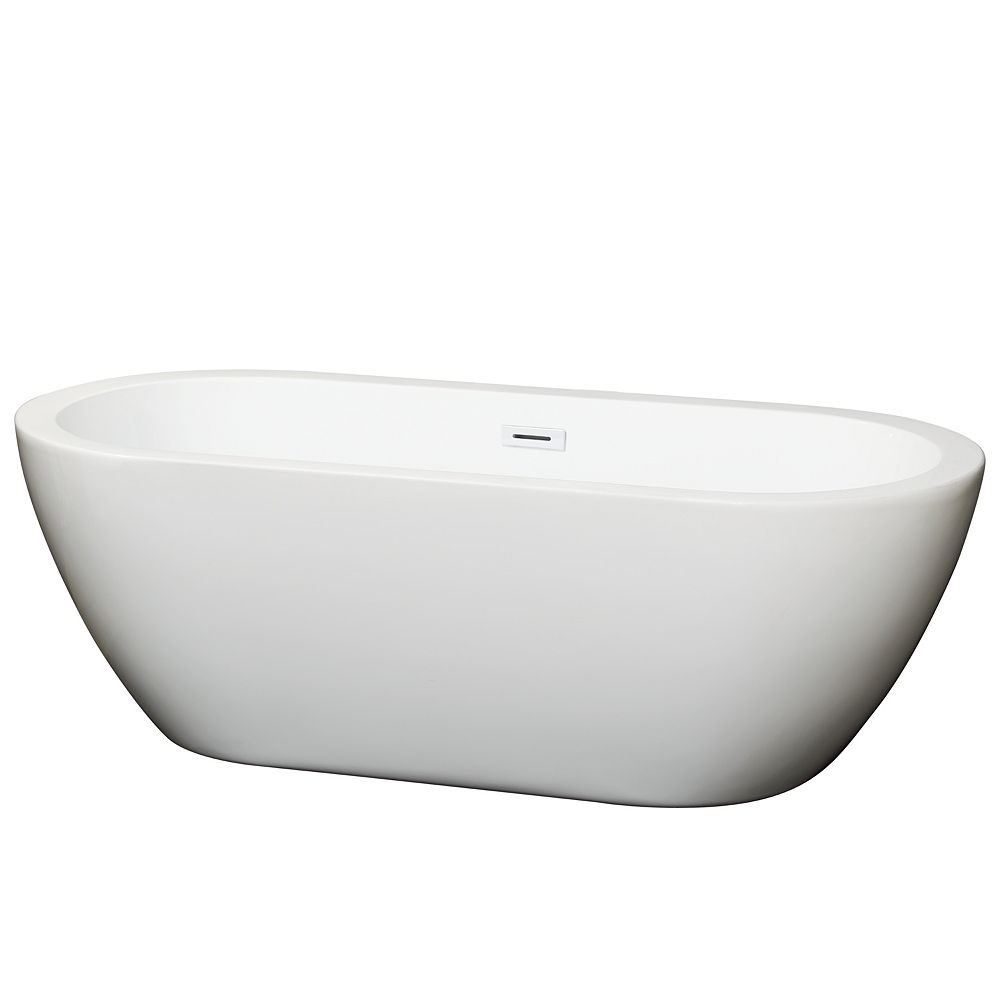 Wyndham Collection Soho 68 inch Freestanding Bathtub in White with Shiny White Drain and Overflow Trim