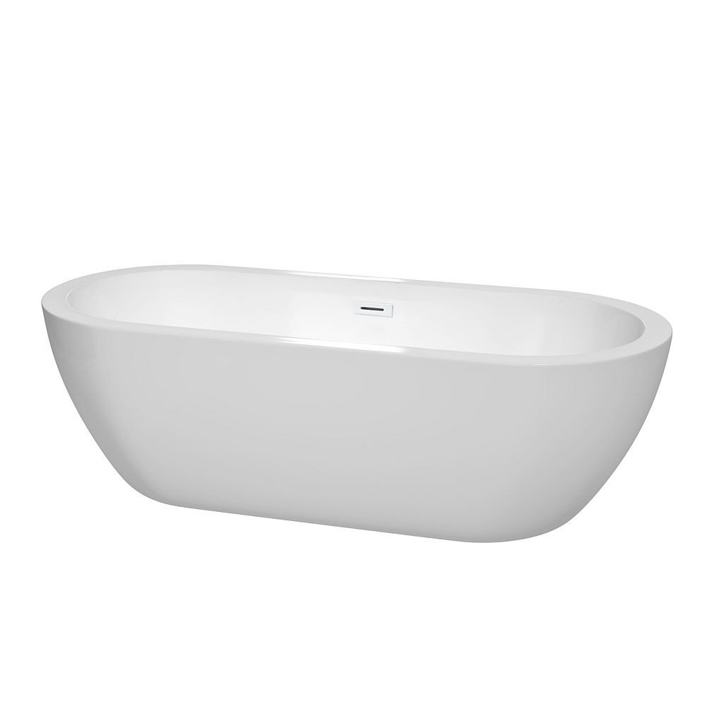 Wyndham Collection Soho 72 inch Freestanding Bathtub in White with Shiny White Drain and Overflow Trim