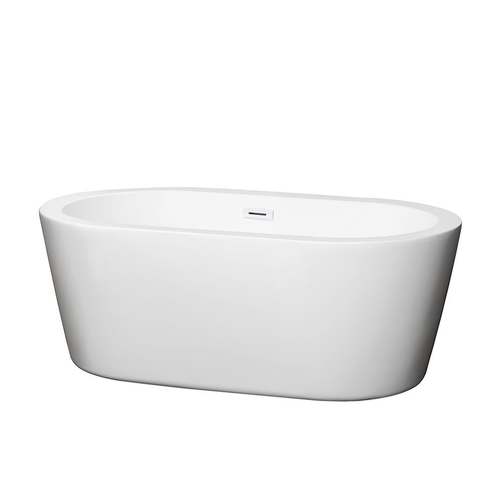 Wyndham Collection Mermaid 60 inch Freestanding Bathtub in White with Shiny White Drain and Overflow Trim