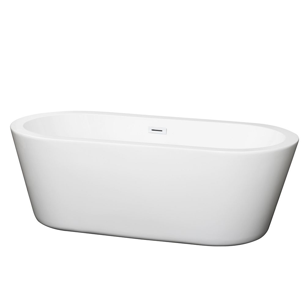 Wyndham Collection Mermaid 67 inch Freestanding Bathtub in White with Shiny White Drain and Overflow Trim