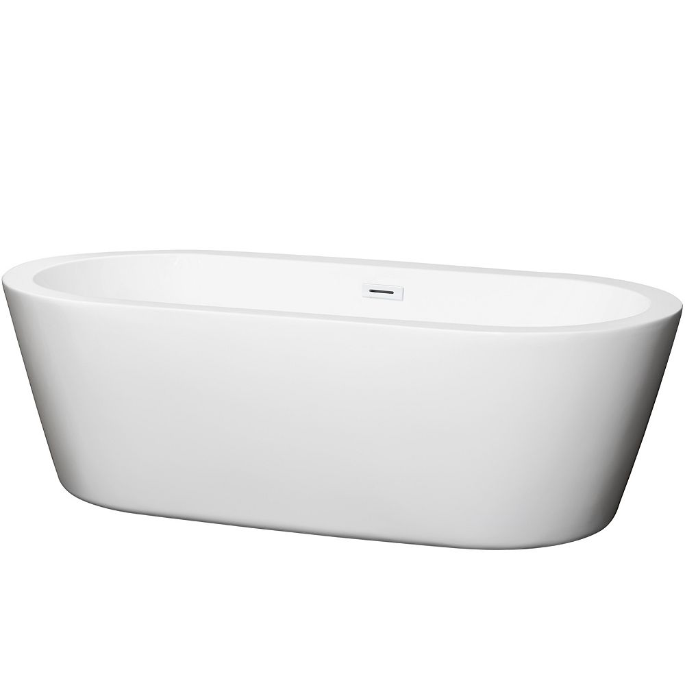 Wyndham Collection Mermaid 71 inch Freestanding Bathtub in White with Shiny White Drain and Overflow Trim