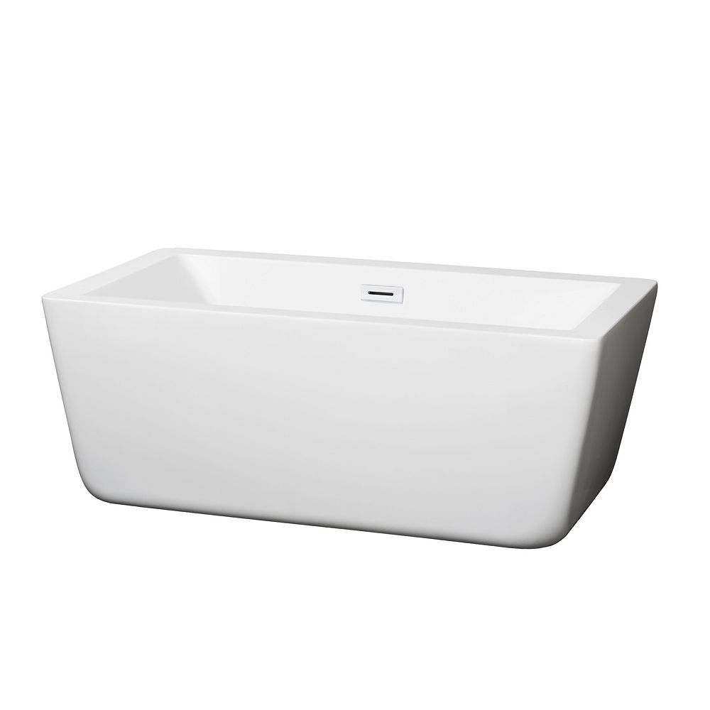 Wyndham Collection Laura 59 inch Freestanding Bathtub in White with Shiny White Drain and Overflow Trim