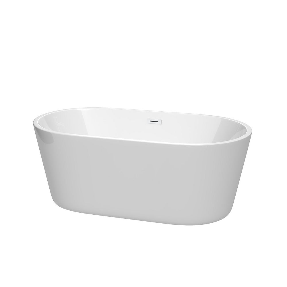Wyndham Collection Carissa 60 inch Freestanding Bathtub in White with Shiny White Drain and Overflow Trim