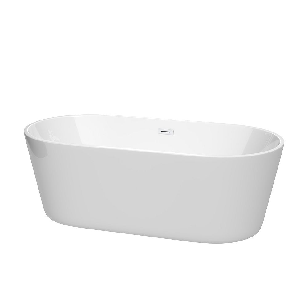 Wyndham Collection Carissa 67 inch Freestanding Bathtub in White with Shiny White Drain and Overflow Trim