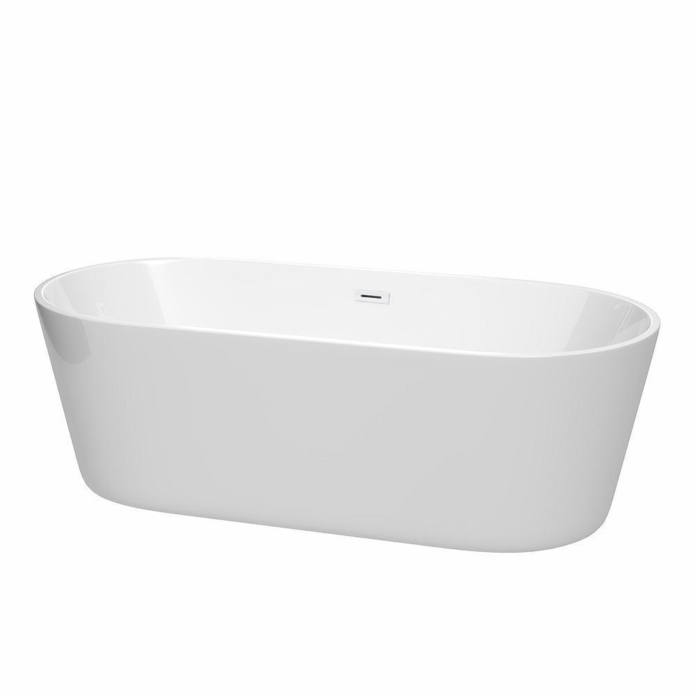 Wyndham Collection Carissa 71 inch Freestanding Bathtub in White with Shiny White Drain and Overflow Trim