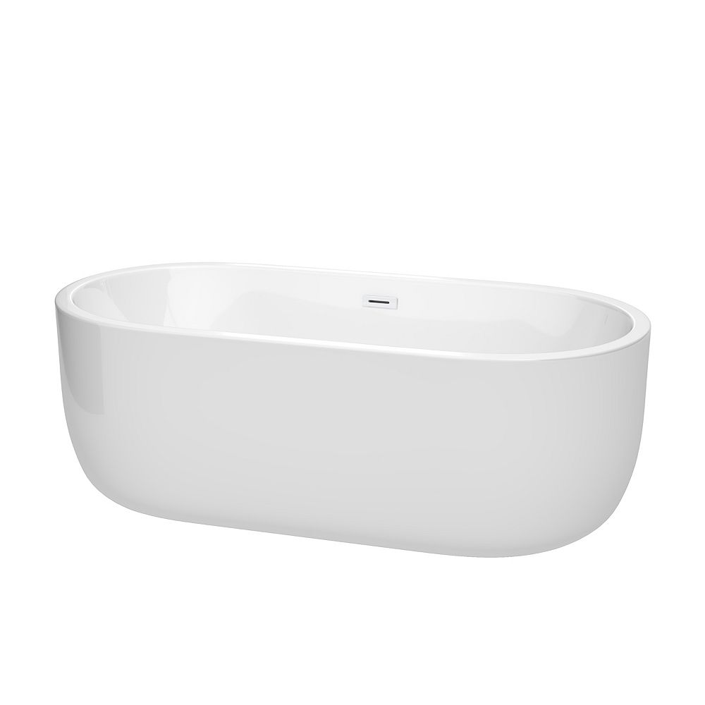 Wyndham Collection Juliette 67 inch Freestanding Bathtub in White with Shiny White Drain and Overflow Trim