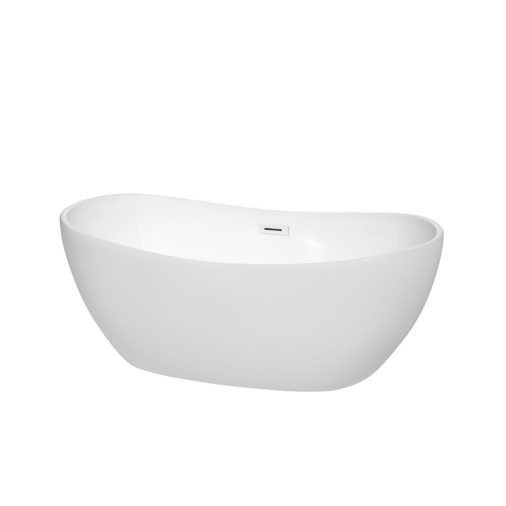 Wyndham Collection Rebecca 60 inch Freestanding Bathtub in White with Shiny White Drain and Overflow Trim