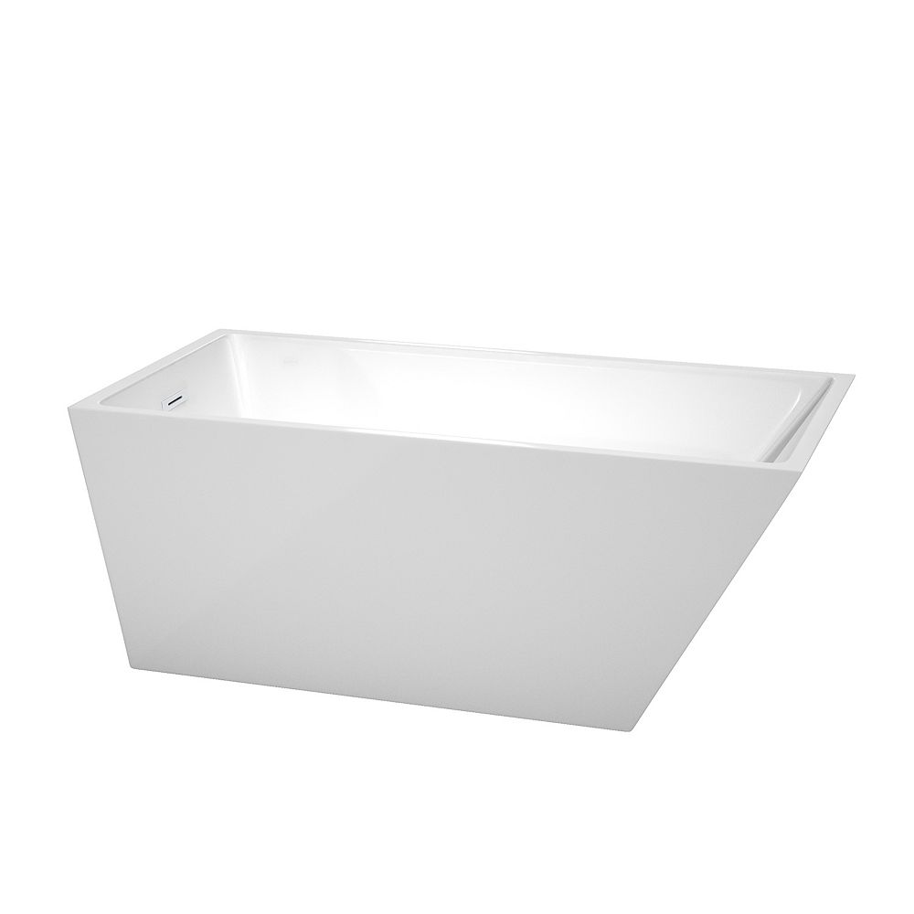 Wyndham Collection Hannah 59 inch Freestanding Bathtub in White with Shiny White Drain and Overflow Trim