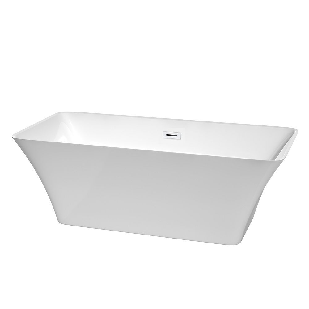 Wyndham Collection Tiffany 67 inch Freestanding Bathtub in White with Shiny White Drain and Overflow Trim
