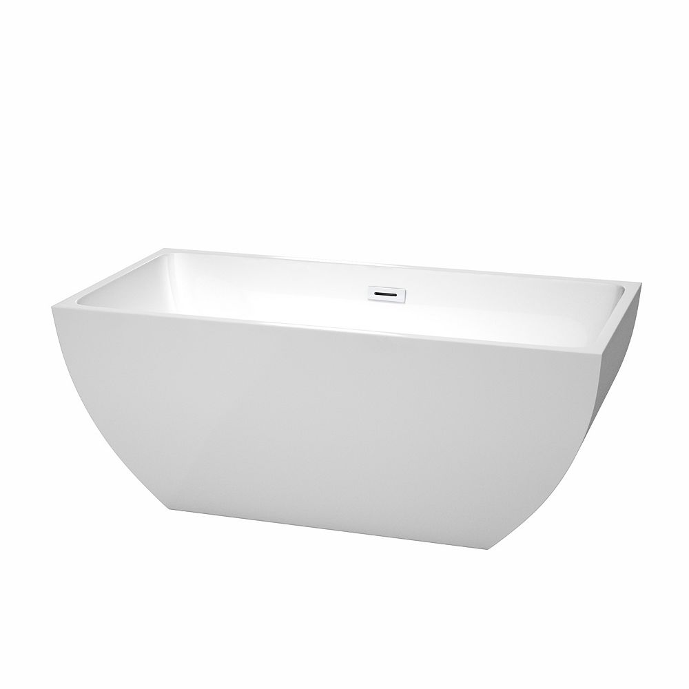 Wyndham Collection Rachel 59 inch Freestanding Bathtub in White with Shiny White Drain and Overflow Trim