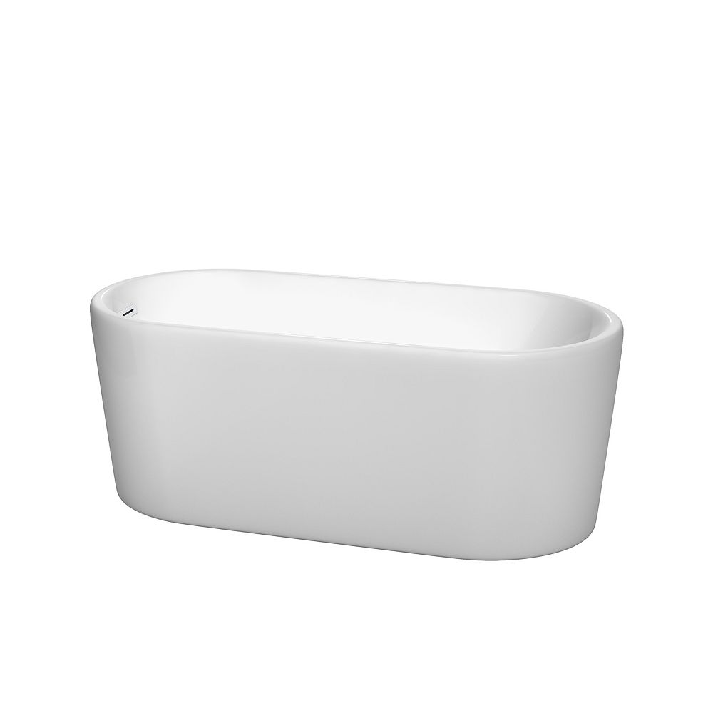 Wyndham Collection Ursula 59 inch Freestanding Bathtub in White with Shiny White Drain and Overflow Trim