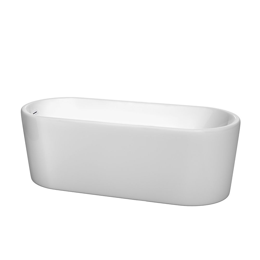 Wyndham Collection Ursula 67 inch Freestanding Bathtub in White with Shiny White Drain and Overflow Trim
