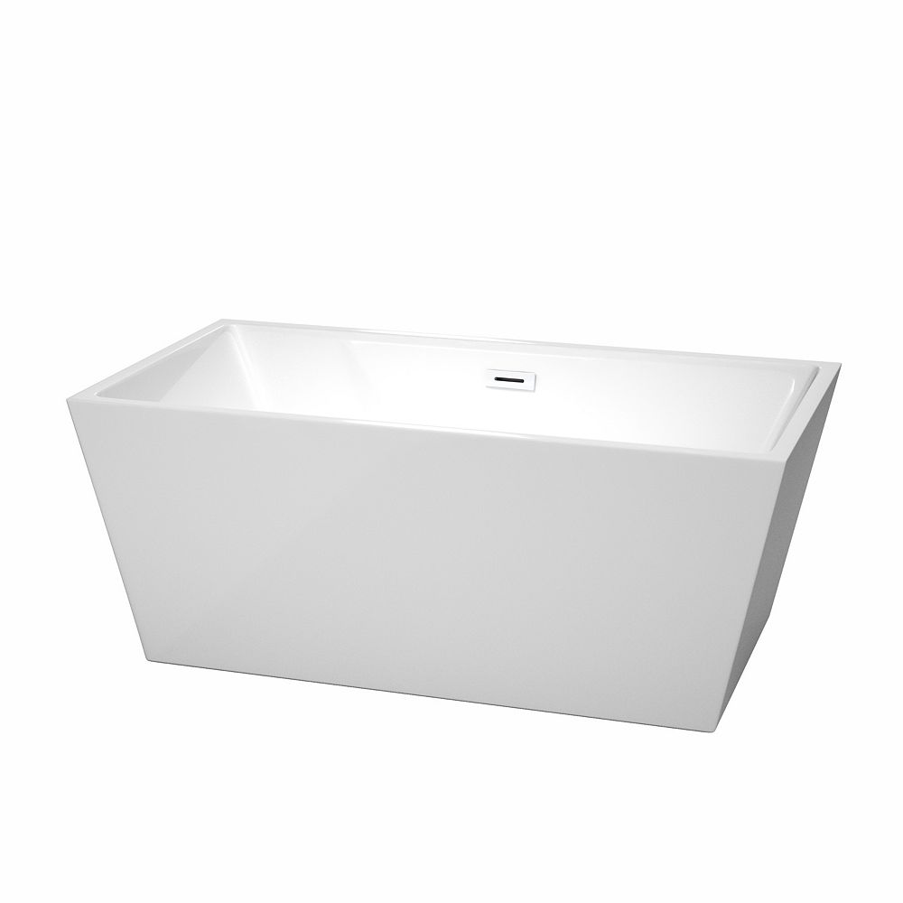 Wyndham Collection Sara 59 inch Freestanding Bathtub in White with Shiny White Drain and Overflow Trim