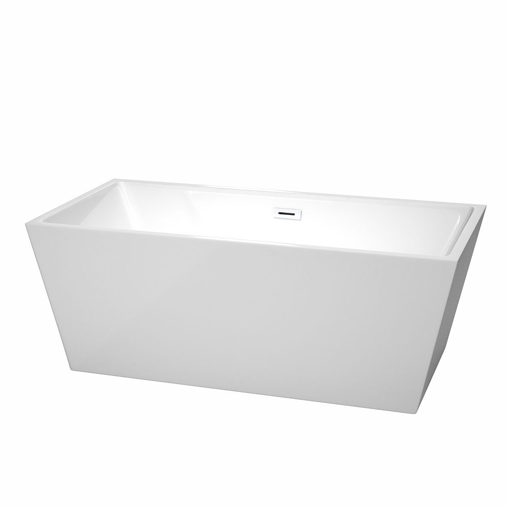 Wyndham Collection Sara 63 inch Freestanding Bathtub in White with Shiny White Drain and Overflow Trim